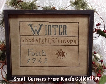 Primitive early style Winter 1742 Sampler repro