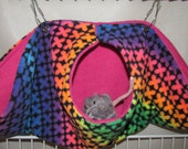Calzone Pouch Hammock, For Pet Rats, Sugar Gliders, Guinea Pigs, Hedge Hogs, w/Metal Latches,  Rainbow X's Fleece
