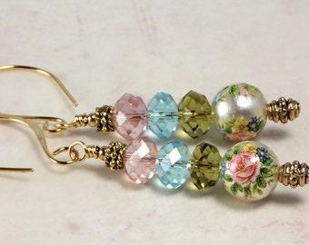 Tensha Bead and Crystal Earrings, Pastels, Pink Rose, Spring Jewelry