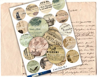 Circles 2 inch Digital Collage Sheet Download - Vintage Ephemera 2 inch circles Instant Download Printable for Jewelry Pendants