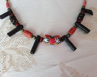 AFRICAN CHOKER, colorful african beads, branch coral