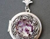Locket Necklace,Real dried flowers bird silver locketJewelry Gift,Puper flowers,Antique Locket,Silver Locket,Wedding Necklace