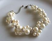 Autumn Sale, Ivory pearl Bracelet,Glass Pearl Bracelet,Pearl Flower Bracelet,Wedding Bracelet,Crystal bracelet,Bridesmaid Bracelet,Jewelry