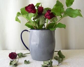 Vintage Graniteware Pitcher Enamelware Grey Pitcher Chippy Flower Vase Country Kitchen Shabby Cottage Decor 1940s