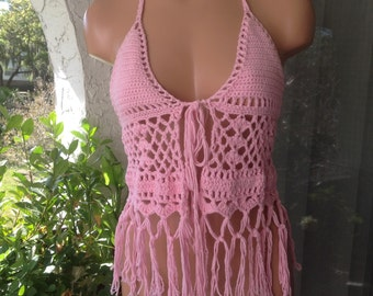 Crochet Halter Top with Fringe, CLUBWEAR, beach cover up, pink color  100% cotton .