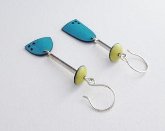 Picasso Enamel Earrings in Aqua & Lime