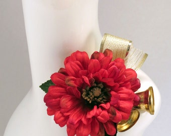 Corsage Christmas Red Gold Bells