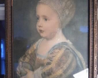 Antique Vintage Framed Print of Child