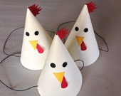 ROOSTER Party Hats (Set of 6) -- No animal farm party is complete without them