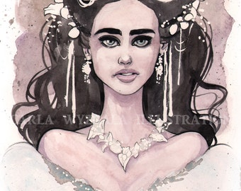 Sarah Labyrinth masquerade watercolor art print Carla Wyzgala carlations