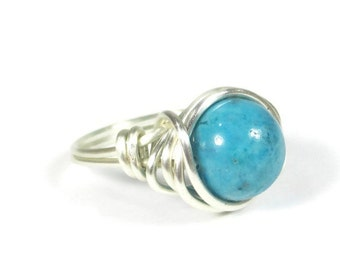 Turquoise Cocktail Ring - Wire Wrapped Boho Jewelry - Silver Rings