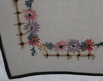 Vintage Tablecloth or Topper in Ecru Muslin with Black Bias Tape Edge and Embroidered Flower Corners