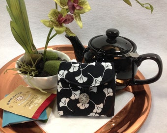 Tea Bag Travel Wallet - White Ginkgo Leaf on Black, Teacher Gift, Free Shipping - USA, Ships Worldwide