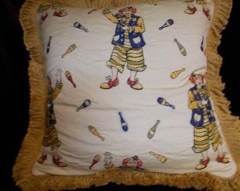 """Juggling Clown 1  Pillow Cover, 18""""x18"""" fringe is 1 1/2 in."""