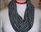 Infinity Scarf, Jersey Knit Scarf, Eternity Scarf, Stripe Scarf, Knit Scarf, Soft Striped Infinity Loop Jersey Scarf - Black and White