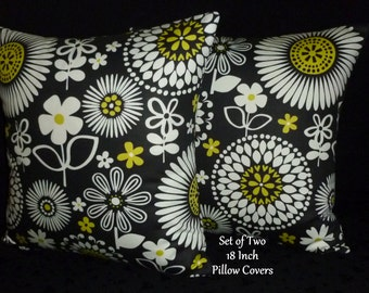 Decorative Pillows, Accent Pillows, Throw Pillows, Pillow Covers, Home Decor -  Black and White Floral - Two 18 Inch