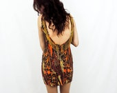 80's Vintage Abstract Leopard BodyCon Dress, Large L