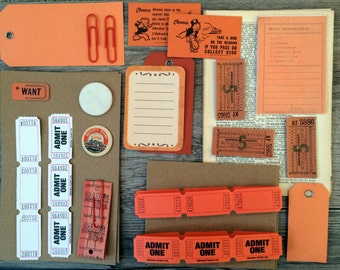 ORANGE Vintage and New Scrap Paper Pack Collage Altered Art Scrapbooking Dictionary Ephemera