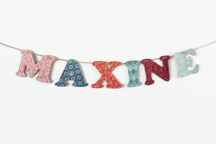 Custom Word Banner ~ Fabric Banner ~ Baby Shower Banner ~  MAXINE Collection