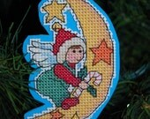 Christmas Angel on the Moon Cross Stitch Ornament