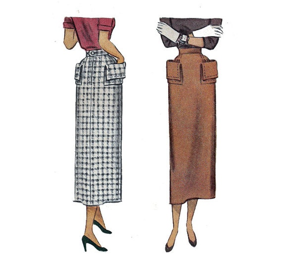 40s rockabilly pencil skirt sewing pattern with