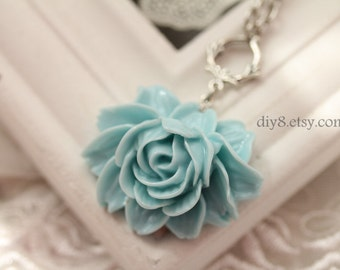 Pretty retro BLUE  rose resin flower necklace pendant jewelry vintage style- Bridesmaid gifts- length 70cm  0109-2