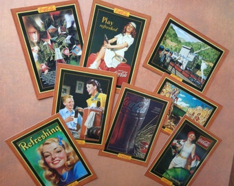 Set of Eight Collectible Coca-Cola Cards Coke Edwardian Card Advertising Ads Soda 1950's 1930's 1920's Artwork #2 120