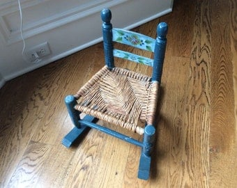 Painted Blue Childs Vintage Rocking Chair