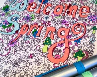 Adult Coloring Page 'Welcome Spring' Decor Doodle Flower Design Mushrooms Printable Instant Download