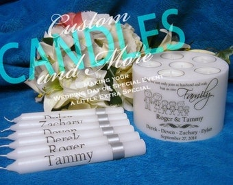 Blended Family Unity Candle With Tapers and Tealights