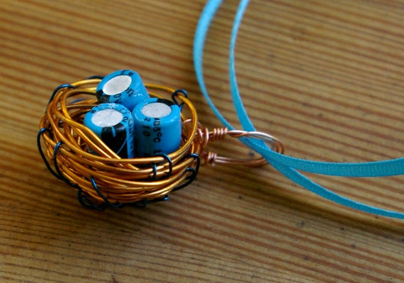 Sky Blue and Orange Wire Bird's Nest with Capacitor Eggs