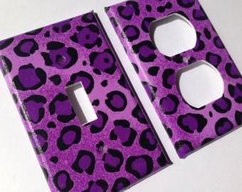 Leopard Single Light Switch Plate Cover Set / Light Switchplate / Leopard Room Decor / Purple Leopard Decor / Purple Nursery Decor