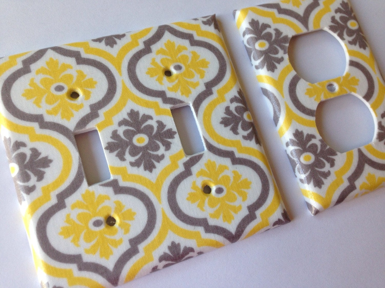 Yellow gray moroccan quatrefoil double light switch cover for Quatrefoil bathroom decor