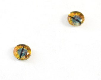 6mm Teal and Gold Dragon Glass Eye Cabochons - Taxidermy Eyes for Doll or Jewelry Making - Set of 2