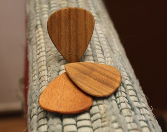 3 Wood guitar picks set Koa & Lignum Vitae hand made ukulele
