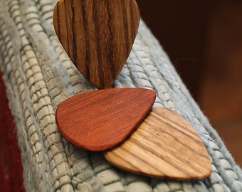 3 Wood guitar picks set Zebrawood & Redheart hand made ukulele