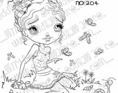 Digi Stamp Sentiments Included Digital Instant Download Big Eye Girl ~ Skylar & Friends in Signs of Spring Image No. 204/B by Lizzy Love