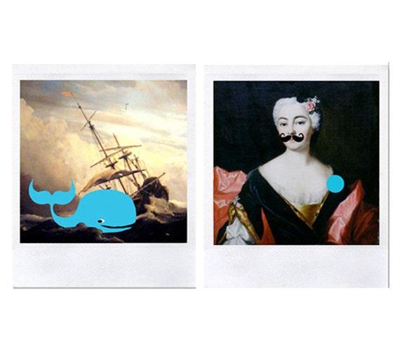 4 neon baroque cards