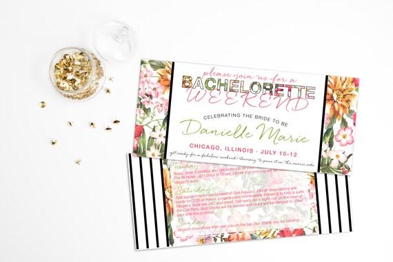 Bachelorette Invitation, Beach Bachelorette Invitation, Weekend Itinerary Bachelorette, Printable Bachelorette Invite