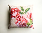 Paint by Number Roses Pillow - SALE, pink roses, flower cushion, vintage floral, vintage roses, floral cushion, roses pillow