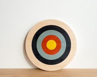 Target Wall Hanging, Circle Wall Decor, Bull's Eye Art, Target Wall Art, Archery Target Art, Target Art Block, Navy/Blue/Red/Yellow