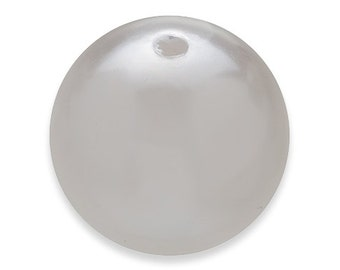 10 WHITE Faux PEARL Beads 24mm Vintage Style Acrylic Round Gumball H140