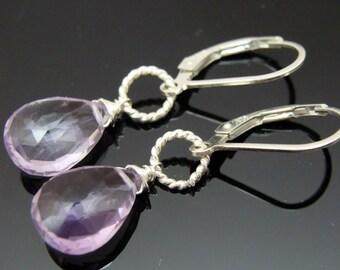 Amethyst Briolette Sterling Silver Leverback Earrings