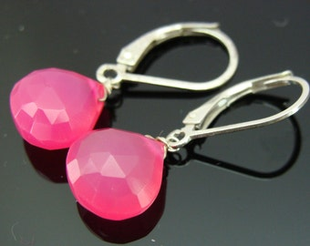 Hot Pink Chalcedony Briolette Sterling Silver Leverback Earrings