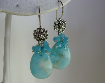 Amazonite and Blue Chalcedony Filigree Flower Sterling Silver Earrings