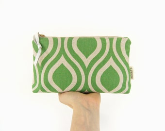 Geometric zipper pouch | Fresh green and linen color | Small clutch purse, Makeup bag, Pencil and gadget case | Colorful accessories