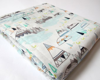 Teepee Baby Blanket - Tee Pees, Trees, and Foxes Baby Blanket -  Grey Minky Dot Backing - 26 x 30