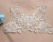 Venice Cotton Lace Collar Appliques Off White Floral Emboridey Hollowed Out Collar 1 pcs