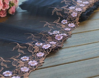 2 Yards Lace Trim Black Embroidered Tulle Lace Trim 9 Inches Wide High Quality