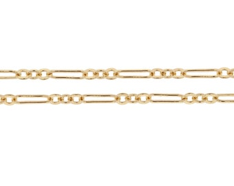 14Kt Gold Filled 7x2mm Flat Long and Short Chain - 5ft (2376-5)/1